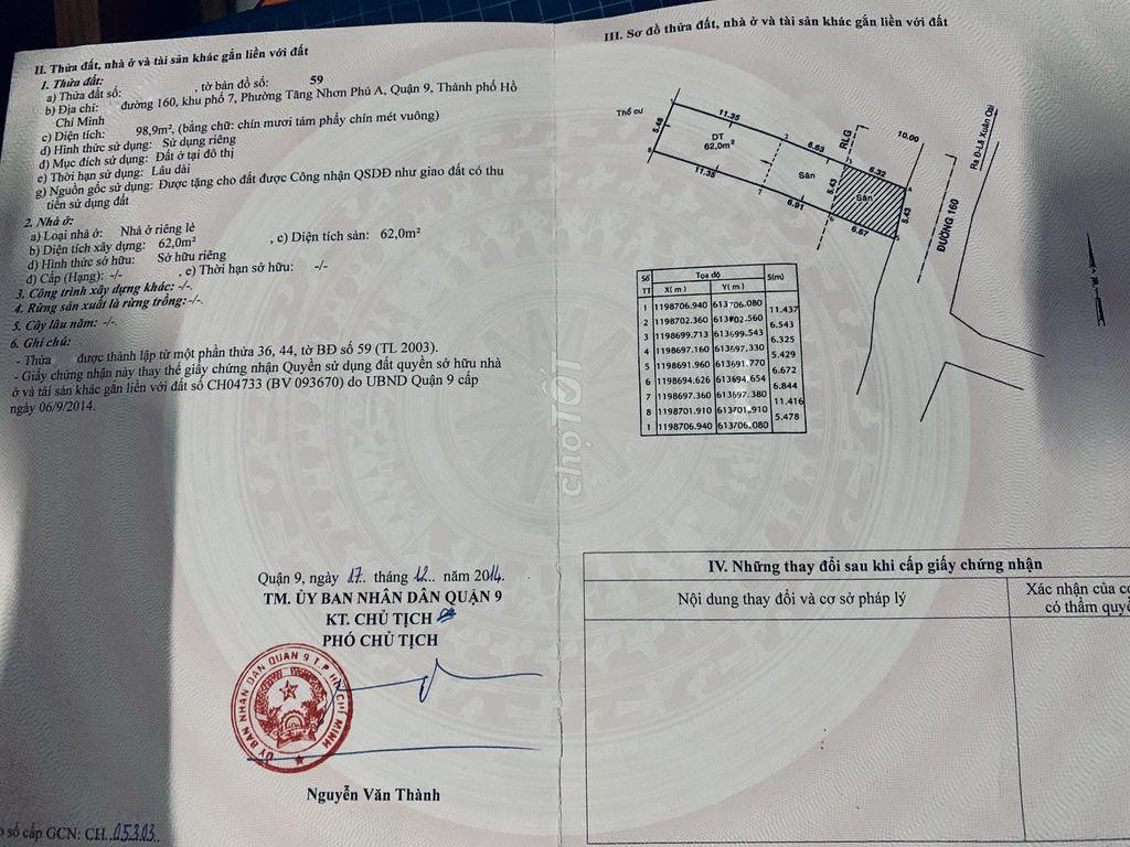 Bán nhà cấp 4 đường 160,phường Tăng Nhơn Phú A Q9